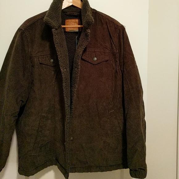 NWT Levi/'s Men/'s Sherpa Trucker Jacket Brown Corduroy Coat Size Small